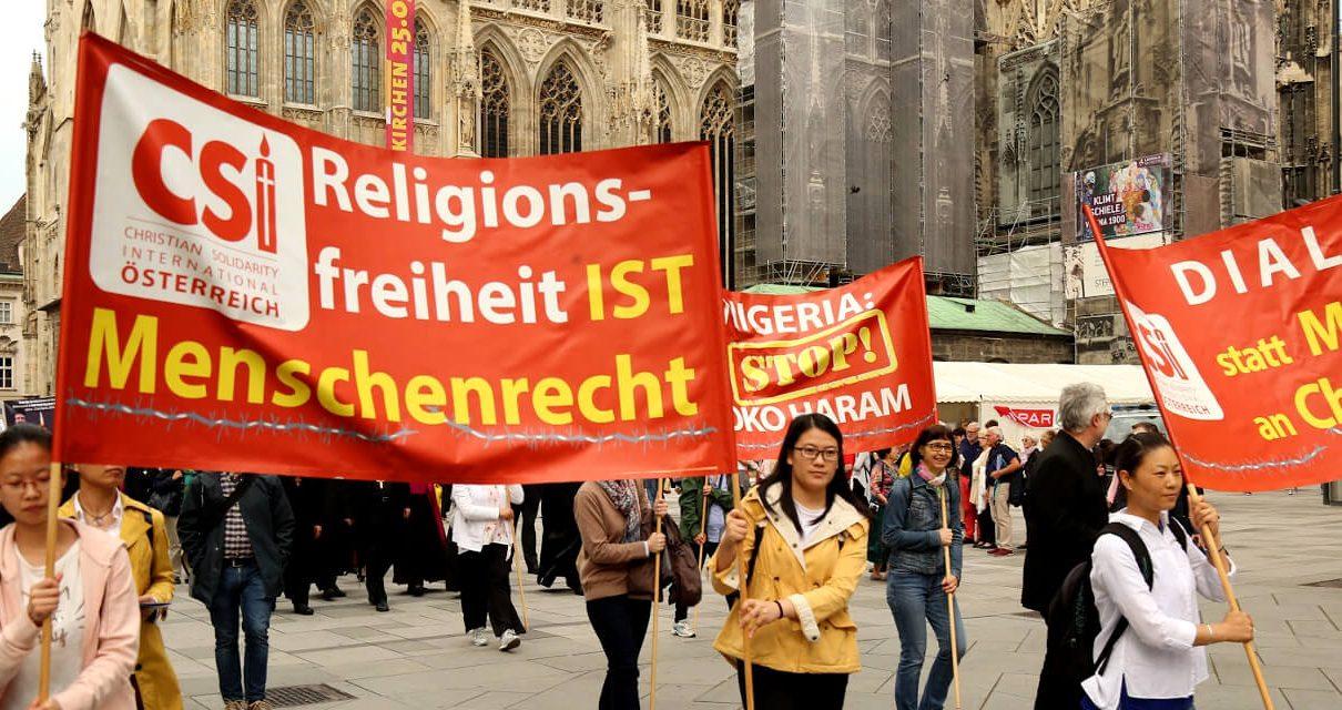 """奥地利""""沉默游行""""为全球1亿名受迫害基督徒呼吁"""