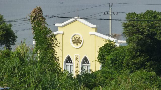 浙江省苍南县赤溪镇大门山岛附近沿海路旁的一座天主教堂