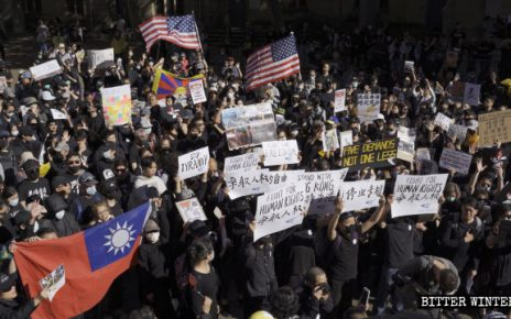 """悉尼""""全球连线共抗极权""""的游行集会现场"""