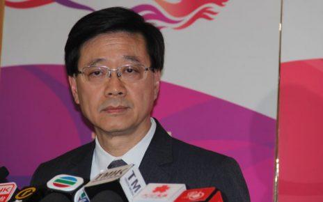 香港保安局局长李家超5月20日在政府总部的记者会上