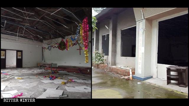 生命河家园教会聚会点天花板、窗户被拆毁