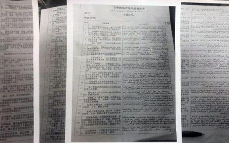 新疆自治区政府通过街道办,要求维吾尔家庭登记75项资料。